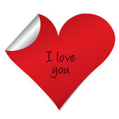 Heart sticker with i love you text — Stock Photo