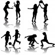Group of playing children silhouettes — Stock Photo