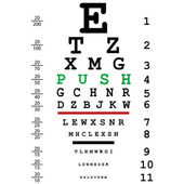 Optical eye test with push message — Stock Photo