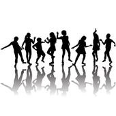 Group of children silhouettes dancing — Stock Photo