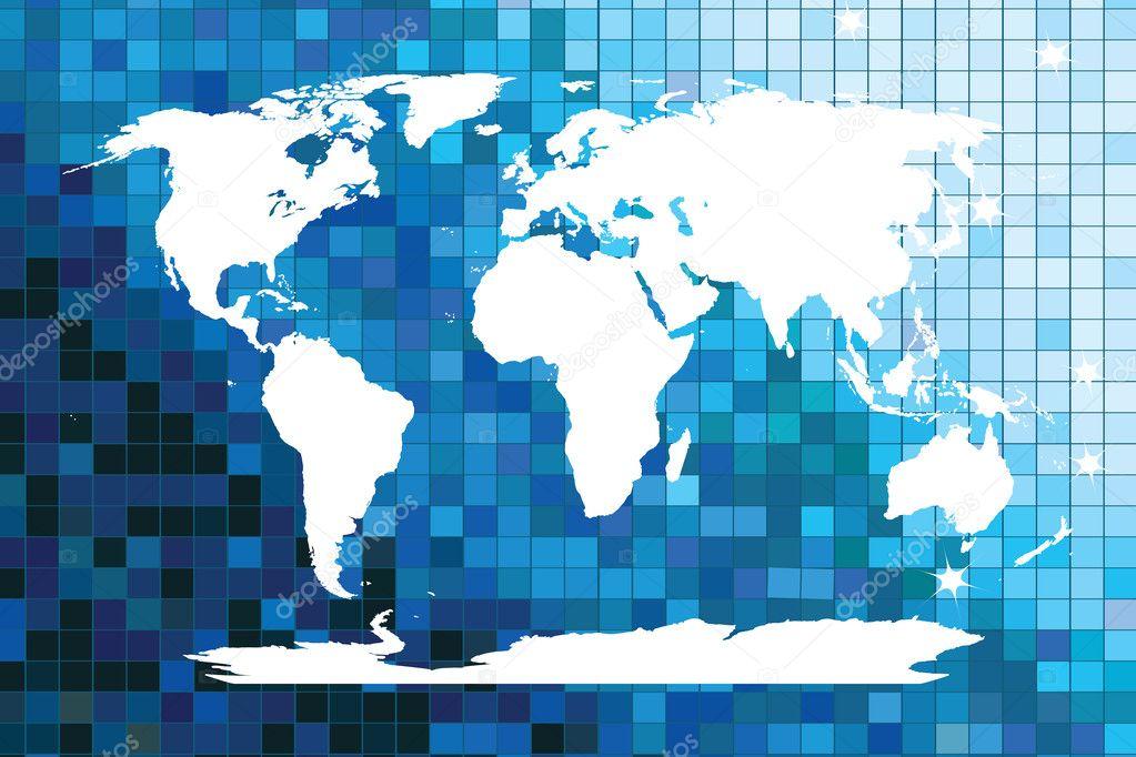 白色世界地图上蓝色马赛克