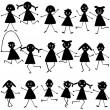Stock Photo: Set of black doodle children