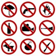 Prohibited signs for stadium access — Stock Photo