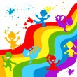 Stock Photo: Hand drown children silhouettes in rainbow colors