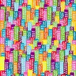 Doodle block of flats background, seamless pattern for kids — 图库照片