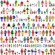 Background with people and children patternes in flags of World — Stock Photo