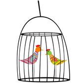 Twee gekleurde vogels in een kooi — Stockfoto