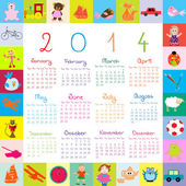 2014 Calendar with toys for kids — Stock Photo