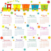 2014 calendar with train for kids — Stock Photo