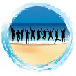 Group of happy people jumping at the seaside — Stock Photo