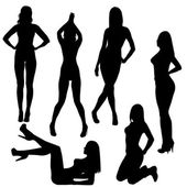 Set of sexy naked women silhouettes — Stock Photo