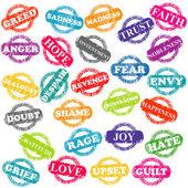 Conjunto de sellos con las emociones positivas y negativas — Foto de Stock
