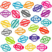 Série de timbres avec des émotions positives et négatives — Photo