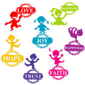 Doodle barn med stämplar med positiva ord — Stockfoto
