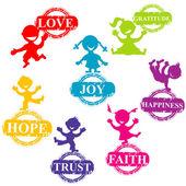 Doodle niños con sellos con palabras positivas — Foto de Stock