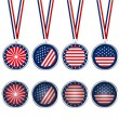 USA medals and buttons — Stock Photo