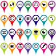 Map markers with international service signs, colorful set — Stock Photo