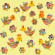 Foto Stock: Stylized birds and flowers background for kids