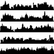 Stock Photo: Cities and castles silhouettes