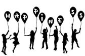 Children silhouettes holding balloons with Happiness — Stock Photo