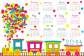 2014 calendar with cartoon train — Stock Photo