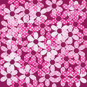 Pink dotted flowers seamless background — Stock Photo