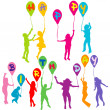 Happy birthday message with children silhouettes holding balloon — Stock Photo #37146799