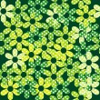 Seamless pattern with green dotted flowers — Stock Photo