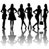 Fashion silhouettes of women — Stock Photo
