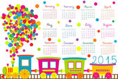 2015 calendar for kids with cartoon train — Stock Photo