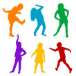 Stock Photo: Set of colored silhouettes of children playing