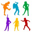 Set of colored silhouettes of children playing — Stock Photo