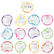 2014 Calendar with round glossy stickers — Stock Photo #39337347