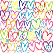 Seamless pattern with colored doodle hearts — Stock Photo
