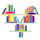 Heart shaped book shelf with books — Stock Photo