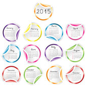 2015 Calendar with round glossy stickers — Stock Photo