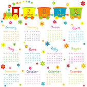 2015 Calendar with toy train and flowers — Stock Photo