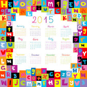 2015 Calendar with letters for schools — Stock Photo