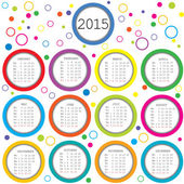 2015 Calendar for kids with colored circles — Stock Photo