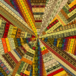 Sunburst made of patchwork fabric witf ethnic motifs — Stock Photo