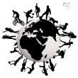 Happy children silhouettes playing over Earth globe — Stock Photo #40653607