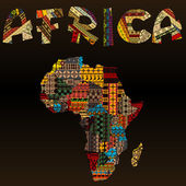 Africa map with African typography made of patchwork fabric text — ストック写真