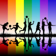 Children silhouettes playing on rainbow background — Stock Photo #42919745