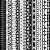 Texture with ethnic geometrical ornaments, black and white Afric — Stock Photo