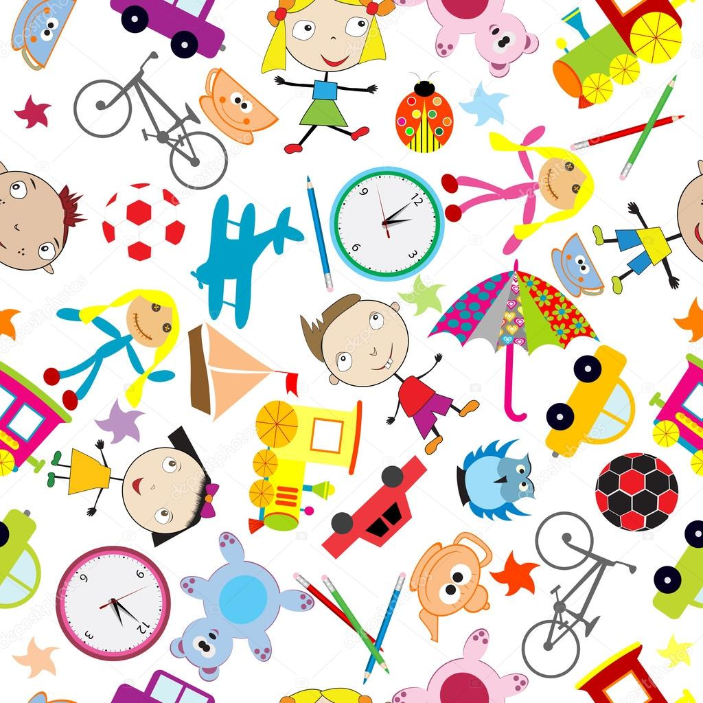 Seamless pattern with toys, background for kids — Stock ...