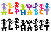 Doodle children with alphabet letters — Stock Photo