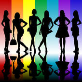 Fashion background with young ladies silhouettes — Foto Stock