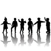 Silhouettes of children and shadows — Stock Photo