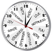 Clock with positive feelings — Stock Photo