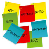 Paper notes set with positive words — Stock Photo